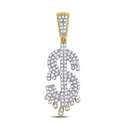 0.38 CTW Diamond Dollar-Sign Charm Pendant 10kt Yellow Gold