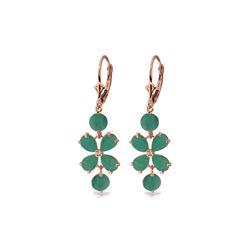 Genuine 5.32 ctw Emerald Earrings 14KT Rose Gold