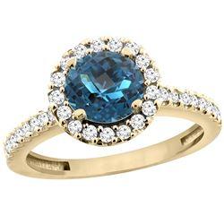 1.38 CTW London Blue Topaz & Diamond Ring 10K Yellow Gold