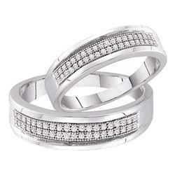 0.25 CTW Diamond Matching Bridal Wedding Ring 10kt White Gold