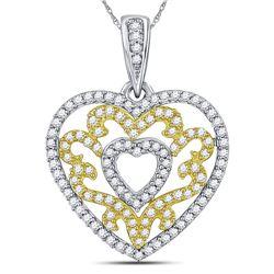 0.50 CTW Diamond Nested Curl Heart Pendant 10kt White Gold