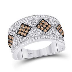 0.65 CTW Brown Diamond Ring 10kt White Gold