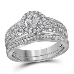 0.50 CTW Diamond Cluster Bridal Wedding Engagement Ring 14kt White Gold