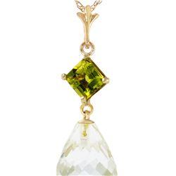 Genuine 5.5 ctw White Topaz & Peridot Necklace 14KT Yellow Gold
