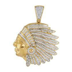 1.15 CTW Diamond Native Chief Charm Pendant 10kt Yellow Gold