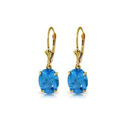 Genuine 6.25 ctw Blue Topaz Earrings 14KT Yellow Gold