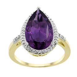 5.55 CTW Amethyst & Diamond Ring 10K Yellow Gold