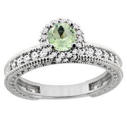 0.77 CTW Amethyst & Diamond Ring 14K White Gold