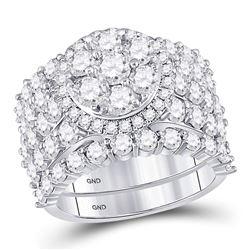 5.07 CTW Diamond Cluster Bridal Wedding Engagement Ring 14kt White Gold