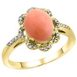 0.10 CTW Diamond & Natural Coral Ring 10K Yellow Gold