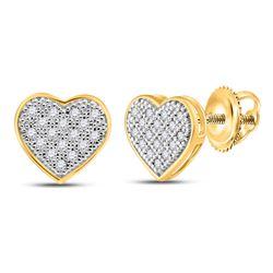 0.10 CTW Diamond Heart Cluster Stud Earrings 10kt Yellow Gold
