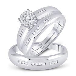 0.33 CTW Diamond Cluster Matching Bridal Wedding Ring 10kt White Gold