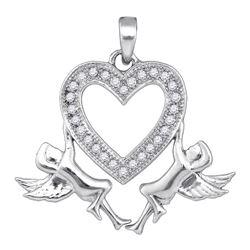 0.10 CTW Diamond Heart Angel Cherub Pendant 10kt White Gold