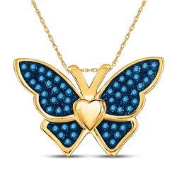 0.16 CTW Blue Color Enhanced Diamond Butterfly Bug Pendant 10kt Yellow Gold