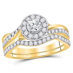 0.95 CTW Diamond Bridal Wedding Engagement Ring 14kt Yellow Gold
