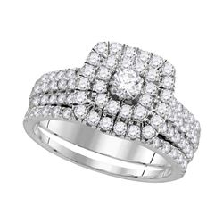 1.75 CTW Diamond Halo Bridal Wedding Engagement Ring 14kt White Gold