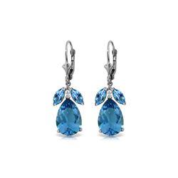 Genuine 13 ctw Blue Topaz Earrings 14KT White Gold