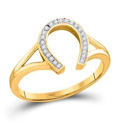 0.05 CTW Diamond Horseshoe Lucky Ring 10kt Yellow Gold