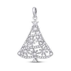 0.33 CTW Diamond Christmas Tree Fashion Pendant 10kt White Gold