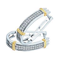 0.15 CTW Diamond Oblong Double Row Hoop Earrings 10kt Two-tone Gold