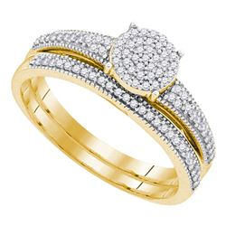 0.25 CTW Diamond Cluster Bridal Wedding Engagement Ring 10kt Yellow Gold