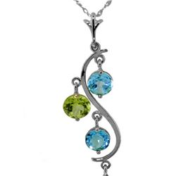Genuine 2.3 ctw Blue Topaz Necklace 14KT White Gold
