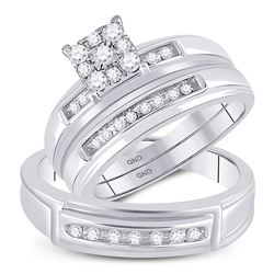 0.30 CTW Diamond Solitaire Matching Bridal Wedding Ring 10kt White Gold