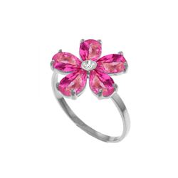 Genuine 2.22 ctw Pink Topaz & Diamond Ring 14KT White Gold
