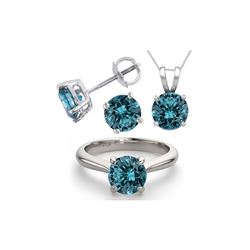 14K White Gold SET 4.0CTW Blue Diamond Ring, Earrings, Necklace