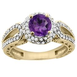 1.25 CTW Amethyst & Diamond Ring 14K Yellow Gold