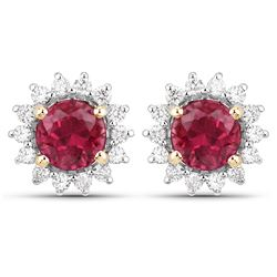1.24 ctw Rubellite & Diamond Earrings 14K Yellow Gold