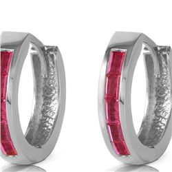 Genuine 1.30 ctw Ruby Earrings 14KT White Gold