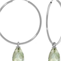Genuine 4.5 ctw Green Amethyst Earrings 14KT White Gold