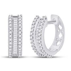 0.50 CTW Diamond Hoop Earrings 10kt White Gold
