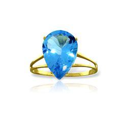 Genuine 5 ctw Blue Topaz Ring 14KT Yellow Gold