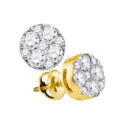 1 CTW Diamond Flower Cluster Earrings 14kt Yellow Gold