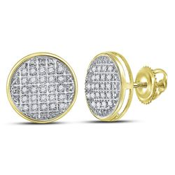 0.13 CTW Diamond Circle Cluster Stud Earrings 10kt Yellow Gold