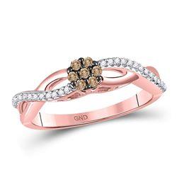 0.16 CTW Brown Diamond Cluster Twist Ring 10kt Rose Gold