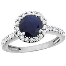 1.43 CTW Blue Sapphire & Diamond Ring 14K White Gold