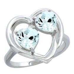 2.60 CTW Aquamarine Ring 10K White Gold