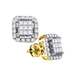 1 CTW Diamond Square Frame Cluster Stud Earrings 14kt Yellow Gold