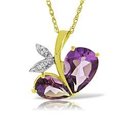 Genuine 4.06 ctw Amethyst & Diamond Necklace 14KT Yellow Gold