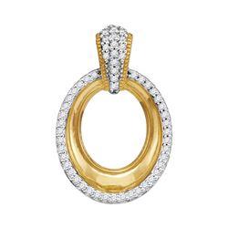 0.15 CTW Diamond Framed Outline Oval Pendant 10kt Yellow Gold