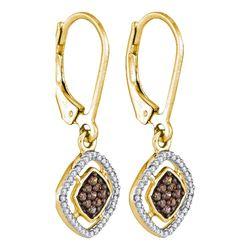 0.33 CTW Brown Diamond Diagonal Square Dangle Earrings 10kt Yellow Gold