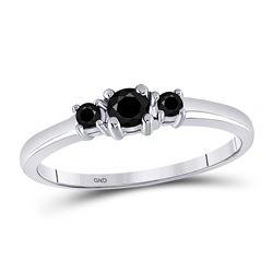 0.27 CTW Black Color Enhanced 3-stone Diamond Bridal Wedding Engagement Ring 10kt White Gold