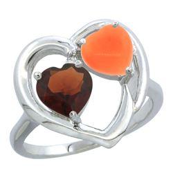 1.31 CTW Garnet & Diamond Ring 14K White Gold