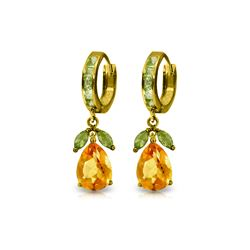 Genuine 14.3 ctw Citrine & Peridot Earrings 14KT Yellow Gold