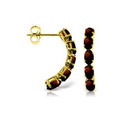 Genuine 2.5 ctw Garnet Earrings 14KT Yellow Gold