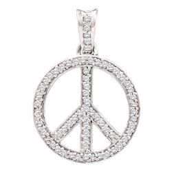 0.25 CTW Diamond Peace Sign Circle Pendant 10kt White Gold