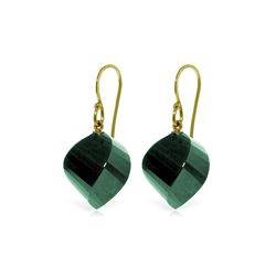 Genuine 30.5 ctw Green Sapphire Corundum Earrings 14KT Yellow Gold